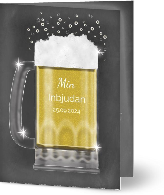 Inbjudan 80 årsdag, glansigt papper, standard-kuvert, 1 st, 30, 40, 50, öl, svarta tavlan, drink, svart, födelsedag, A6, vikt, Optimalprint
