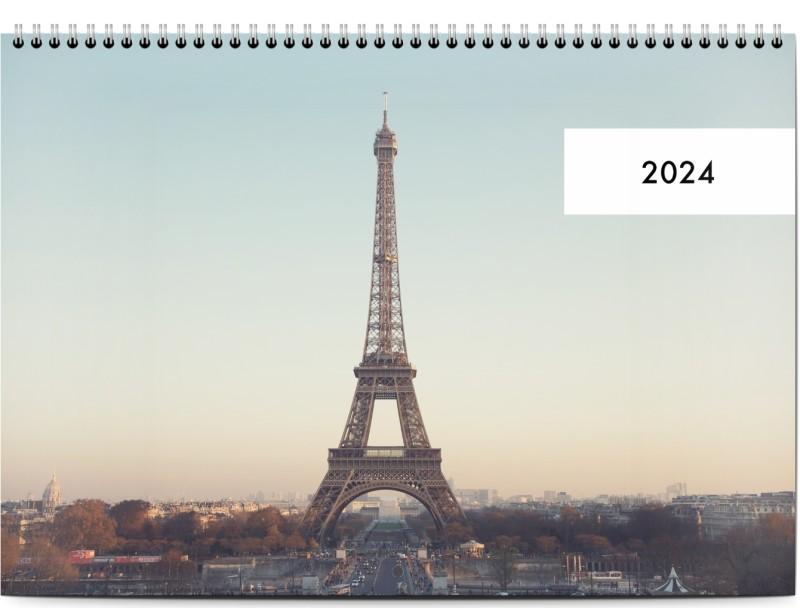 Simplistic Year Tab, 1 st, vit, minimalistisk, Stor liggande dubbel (A3, 30 x 42 cm), Optimalprint