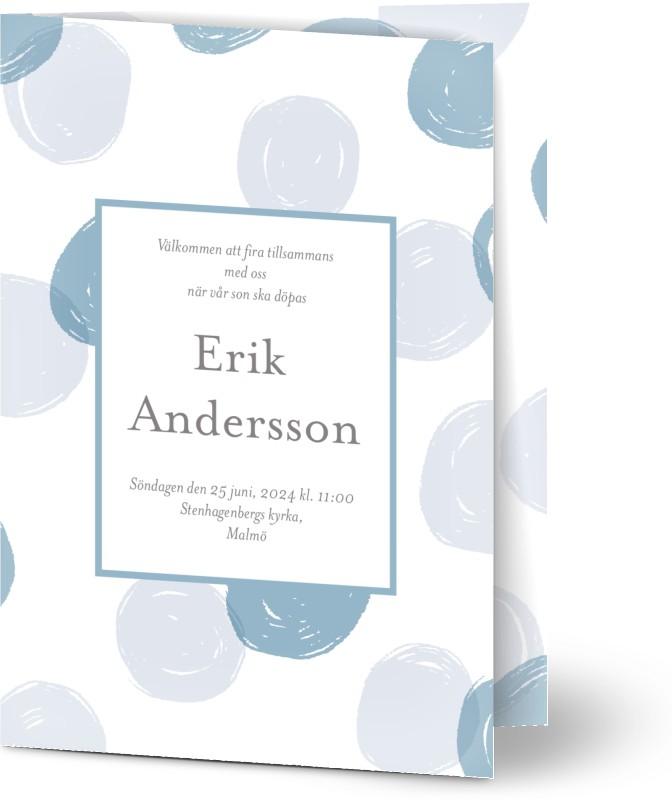 Inbjudningskort till dop, glansigt papper, standard-kuvert, 1 st, fotokort (1 foto), måla, lek, polkaprickig, pojke, blå, A6, vikt, Optimalprint