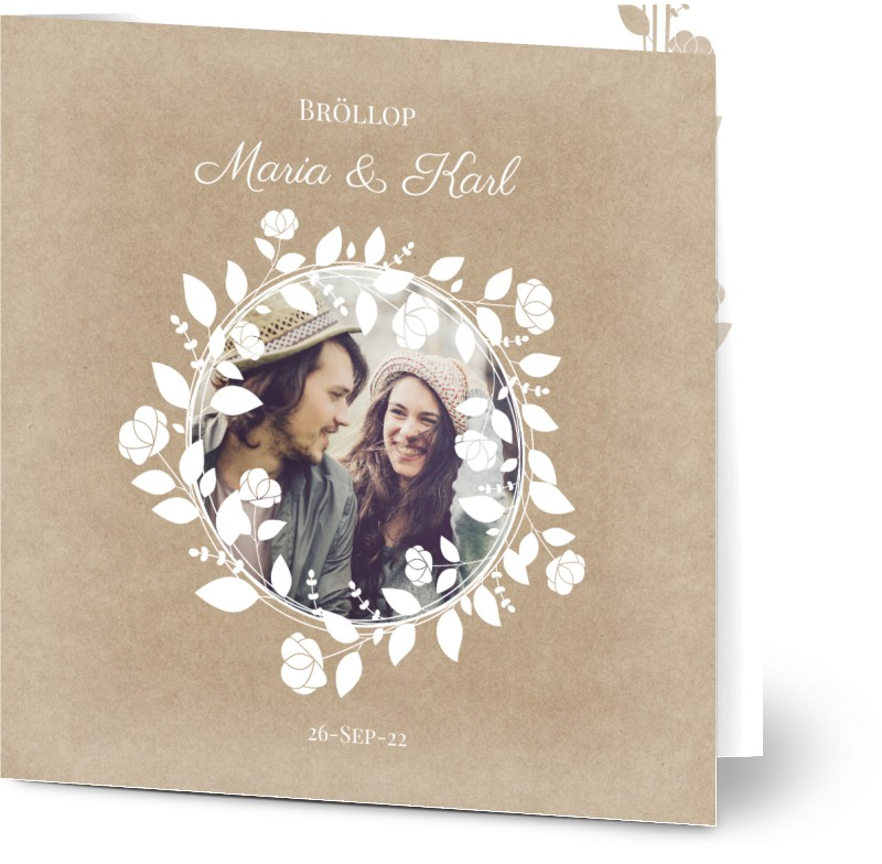 Inbjudningskort till bröllop, fotokort (1 foto), konstpapper, blommor, vin, vinodlingar, rustik, kvadratiskt, vikt, Optimalprint