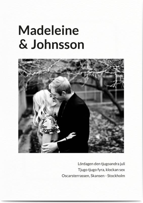 Inbjudningskort till bröllop, fotokort (1 foto), framed, fotoram, porträtt , svart, vit, A6, enkelt, Optimalprint
