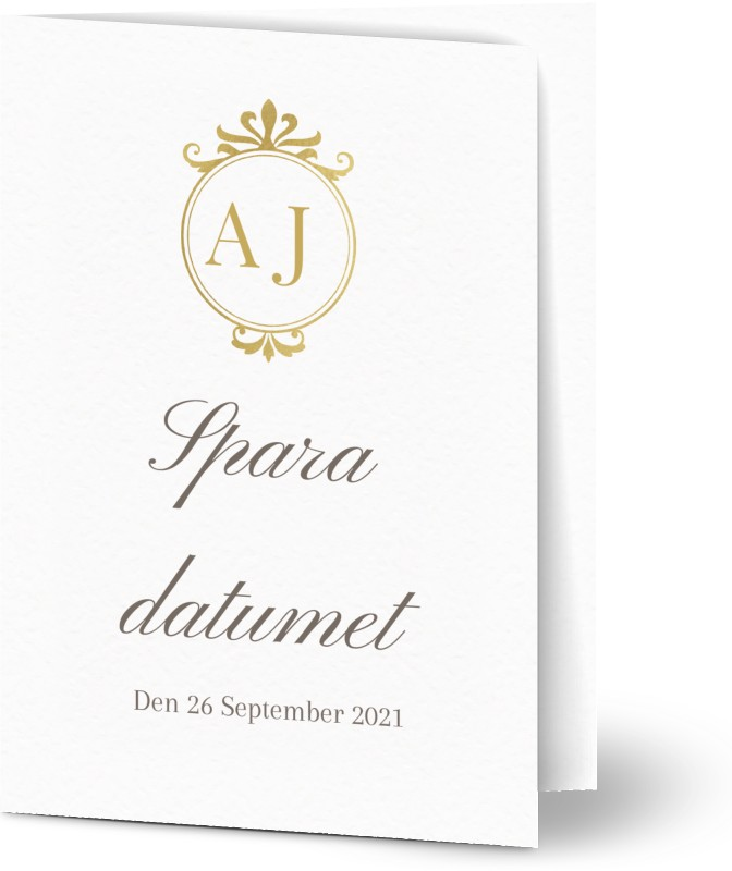 Save the Date, guld, vit, klassiskt, A6, vikt, Optimalprint