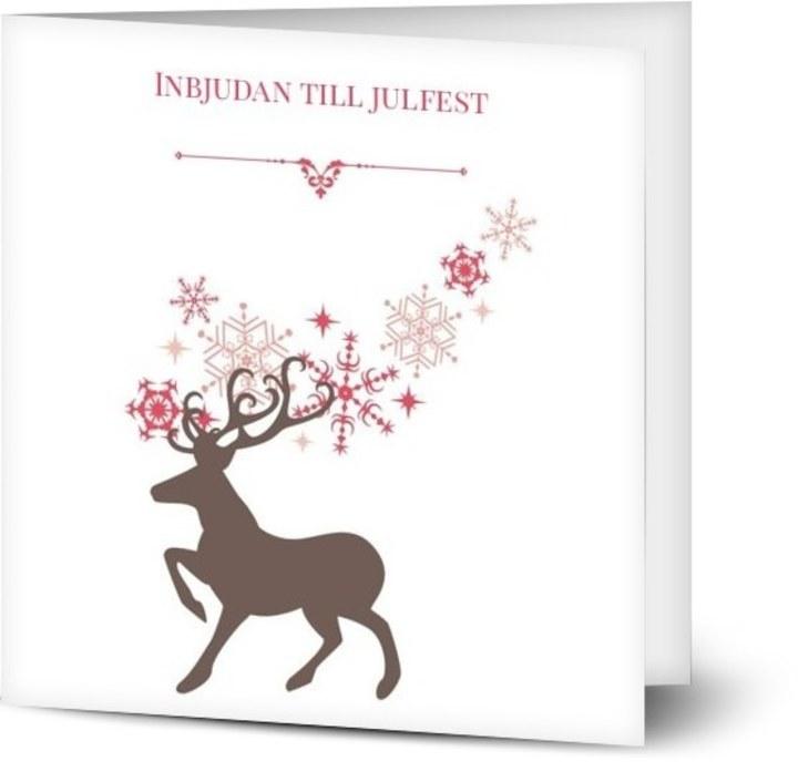 Inbjudan till julfest Julig siluett av ren, glansigt papper, standard-kuvert, 1 st, rådjur, ren, röd, klassiskt, kvadratiskt, vikt, Optimalprint