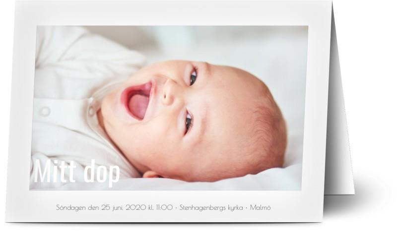 Inbjudningskort till dop, glansigt papper, standard-kuvert, 1 st, 4 foton (fotokollage), vit, klassiskt, minimalistisk, A6, vikt, Optimalprint