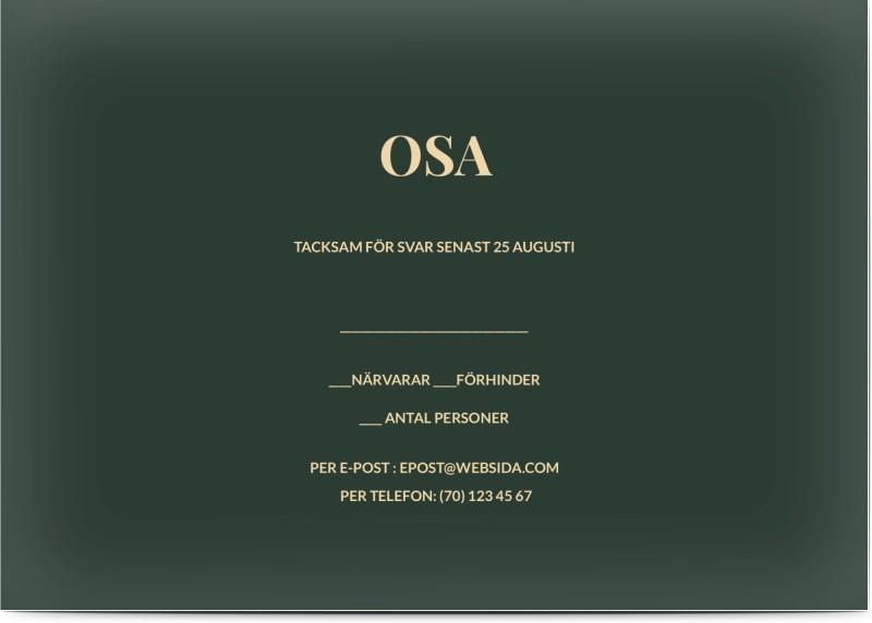 OSA Kort, glansigt papper, standard-kuvert, 1 st, initialer, krans, guld, grön, röd, A6, enkelt, Optimalprint