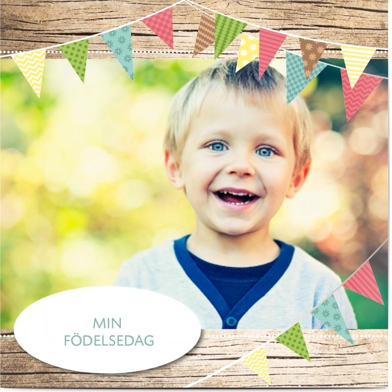 Inbjudningskort barnkalas, glansigt papper, standard-kuvert, 1 st, fotokort (1 foto), flaggduk, flagga, unisex, kvadratiskt, enkelt, Optimalprint