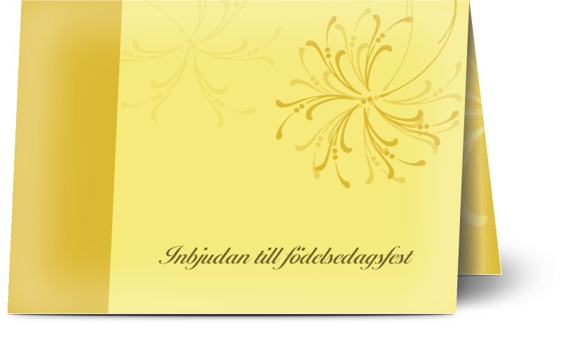 Inbjudningskort 80. födelsedag , glansigt papper, standard-kuvert, 1 st, 40, 50, 60, fyrverkeri, blomstra, blå, gul, A6, vikt, Optimalprint