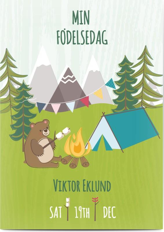 Optimalprint Inbjudningskort barnefödelsedag , fotokort (1 foto), 4, 5, age 3, alperna, djur, björn, läger, lägereld, campa, söt, A6, enkelt, Optimalprint