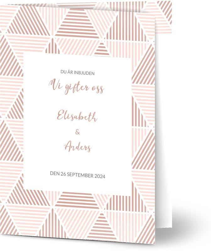 Inbjudningskort till bröllop, fotokort (1 foto), färgrik, mönster, mönstrad, ränder, triangel, vit ram, blå, rosa, vit, A6, vikt, Optimalprint