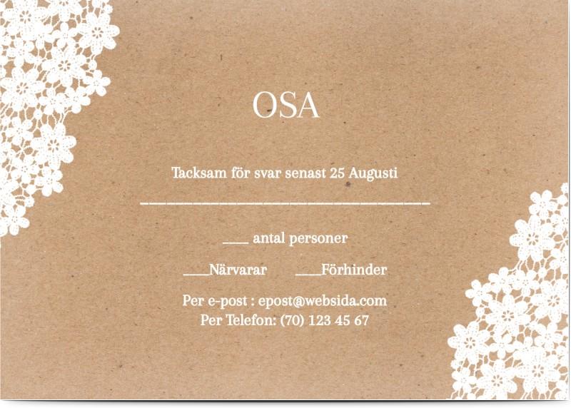 OSA Kort, glansigt papper, standard-kuvert, 1 st, tillverka, konstpapper, blommor, vit, rustik, A6, enkelt, Optimalprint