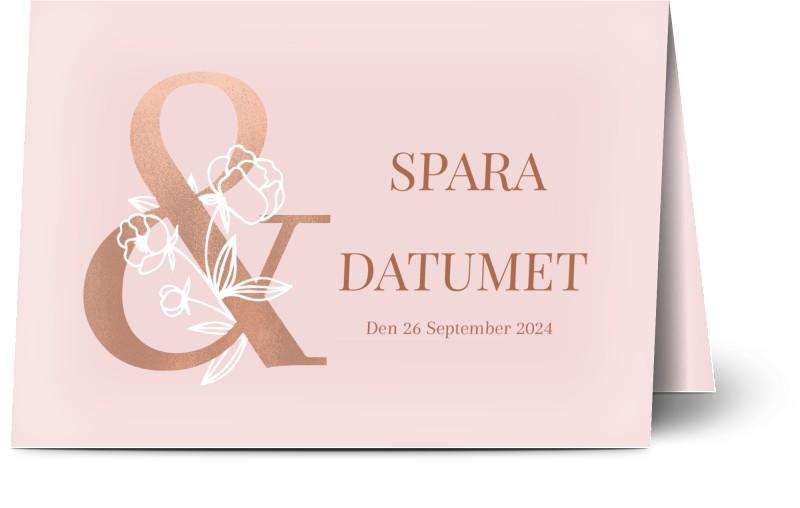 Save the Date kort, glansigt papper, standard-kuvert, 1 st, ros, rosa, A6, vikt, Optimalprint