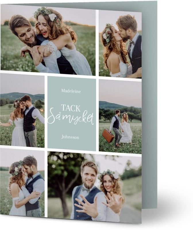 Tackkort för bröllop, glansigt papper, standard-kuvert, 1 st, 6 foton (fotokollage), script, blå, A6, vikt, Optimalprint