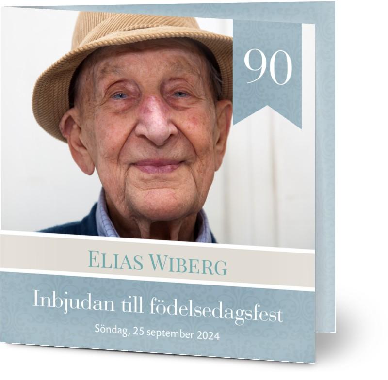 Optimalprint Inbjudningskort födelsedag , fotokort (1 foto), 90, man, pojke, blå, klassiskt, kvadratiskt, vikt, Optimalprint