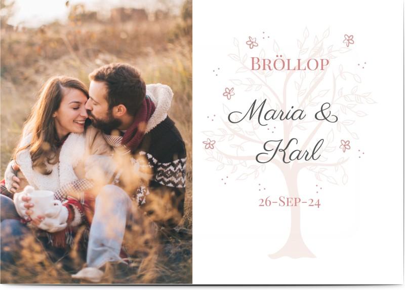 Inbjudningskort till bröllop, fotokort (1 foto), blomma, trä, rosa, A6, enkelt, Optimalprint