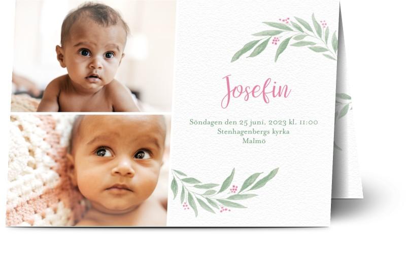 Inbjudningskort till dop, 3 foton, foliage, löv, flicka, vit, A6, vikt, Optimalprint