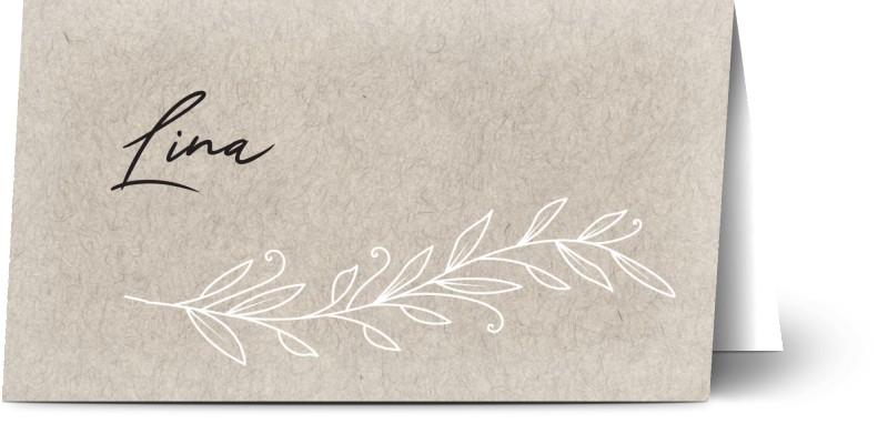 Placeringskort för dop, halvmatt papper, 1 st, konstpapper, löv, vinodlingar, flicka, placeringskort, vikt, Optimalprint