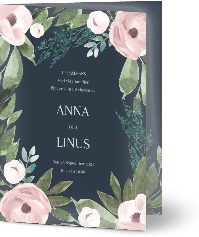Inbjudningskort till bröllop, blommor, löv, marinblå, rosa, A6, vikt, Optimalprint
