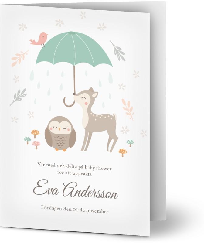 Inbjudningskort Babyshower, glansigt papper, standard-kuvert, 1 st, barn, söt, rådjur, elegant, kul, uggla, enkel, paraply, A6, vikt, Optimalprint