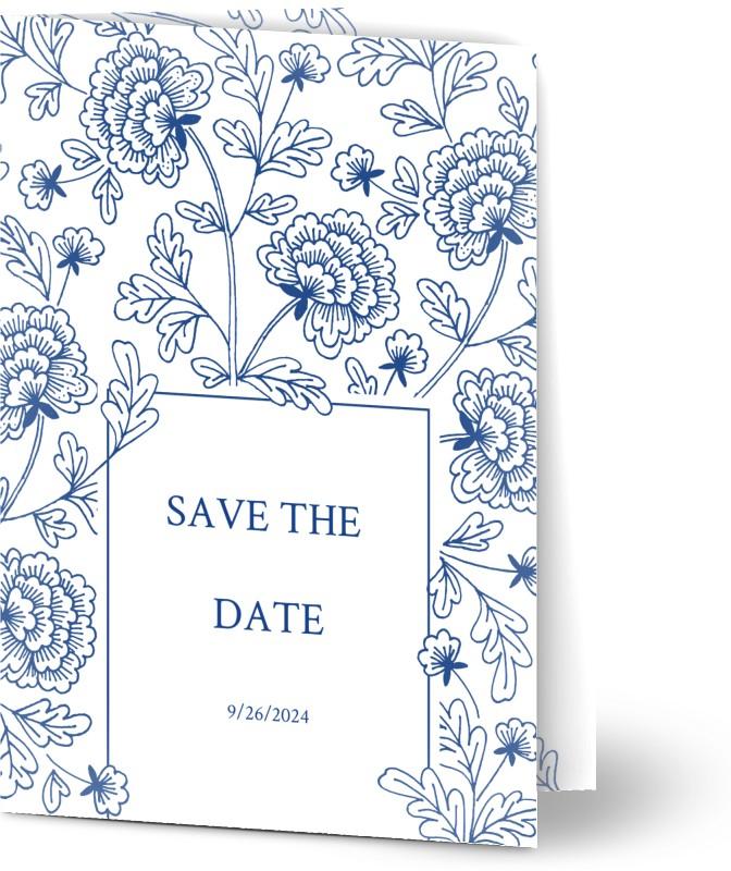 Save the Date kort, glansigt papper, standard-kuvert, 1 st, fotokort (1 foto), bud, blommor, löv, blå, vit, klassiskt, A6, vikt, Optimalprint