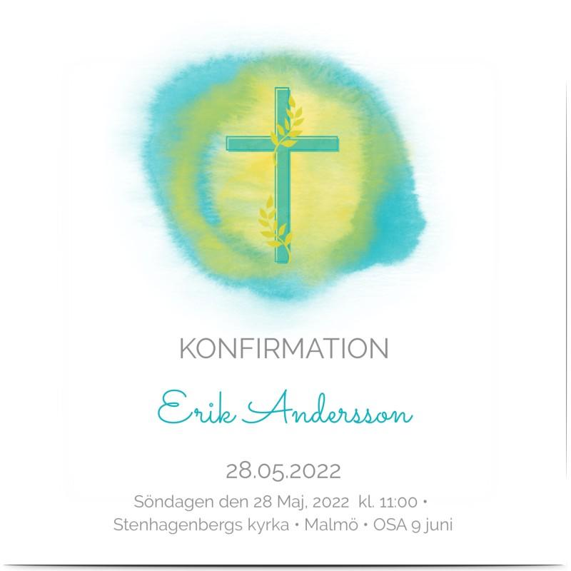Konfirmationskort, glansigt papper, standard-kuvert, 1 st, gren, cirkel, löv, pojke, blå, gul, kvadratiskt, enkelt, Optimalprint