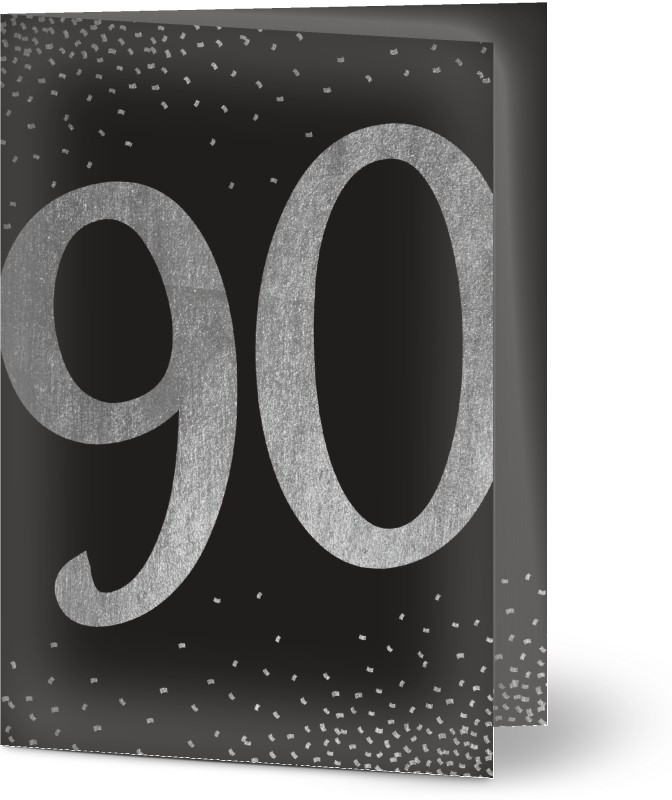 Födelsedagsinbjudan, glansigt papper, standard-kuvert, 1 st, fotokort (1 foto), 90, konfekt godis , tekstur, svart, silver, A6, vikt, Optimalprint