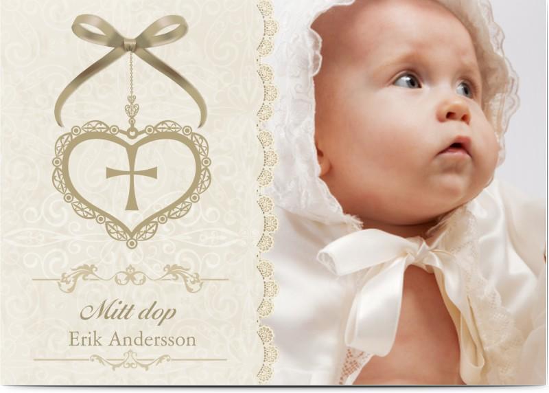 Inbjudningskort till dop, fotokort (1 foto), pojke, flicka, klassiskt, vintage, A6, enkelt, Optimalprint