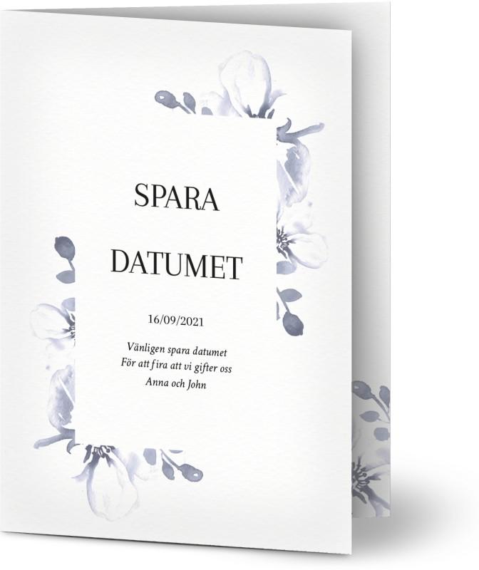 Save the Date kort, blommig, blomma, blommor, målad, måla, tvätta , blå, moderna, A6, vikt, Optimalprint