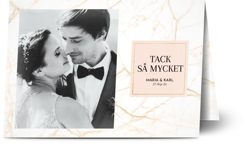 Tackkort för bröllop, glansigt papper, standard-kuvert, 1 st, fotokort (1 foto), ram, framed, kula, kulor, guld, pastell, A6, vikt, Optimalprint