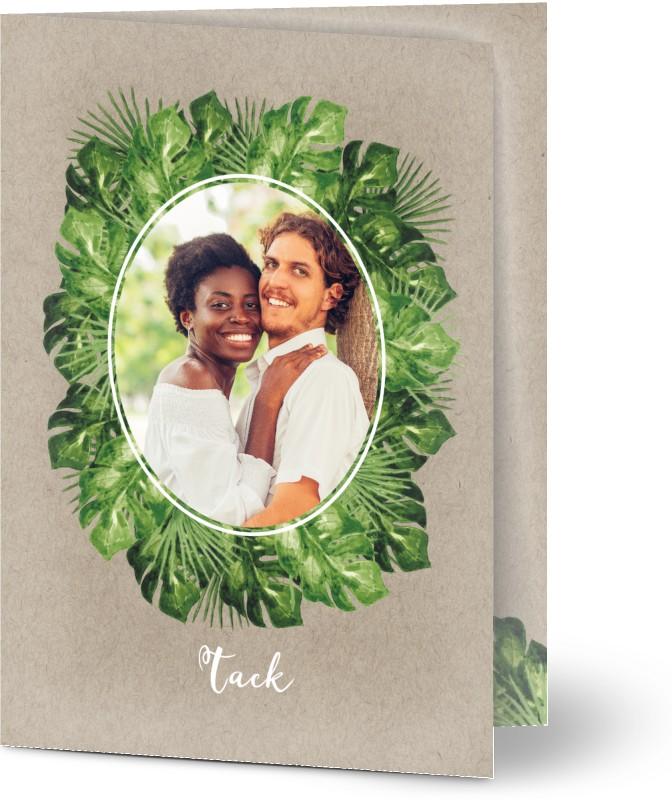 Tackkort för bröllop, glansigt papper, standard-kuvert, 1 st, fotokort (1 foto), löv, natur, tropisk, klassiskt, A6, vikt, Optimalprint