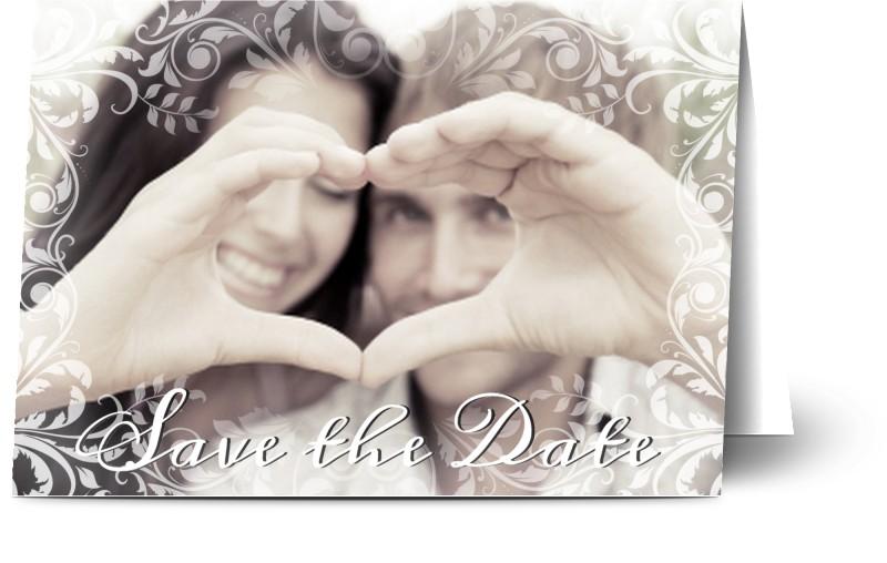 Save the Date, glansigt papper, standard-kuvert, 1 st, fotokort (1 foto), klassiskt, A6, vikt, Optimalprint