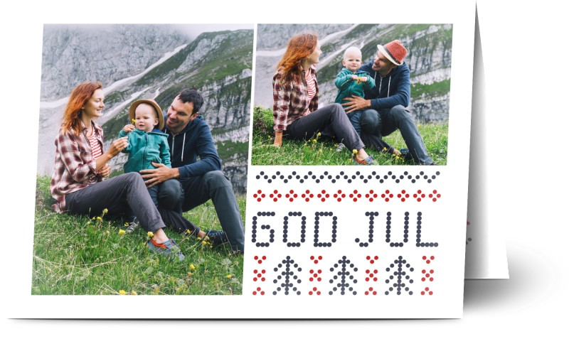 Julkort, glansigt papper, standard-kuvert, 1 st, 3 foton, juldekoration, julgran, prickar, mönster, vit ram, mörkblå, röd, A6, vikt, Optimalprint