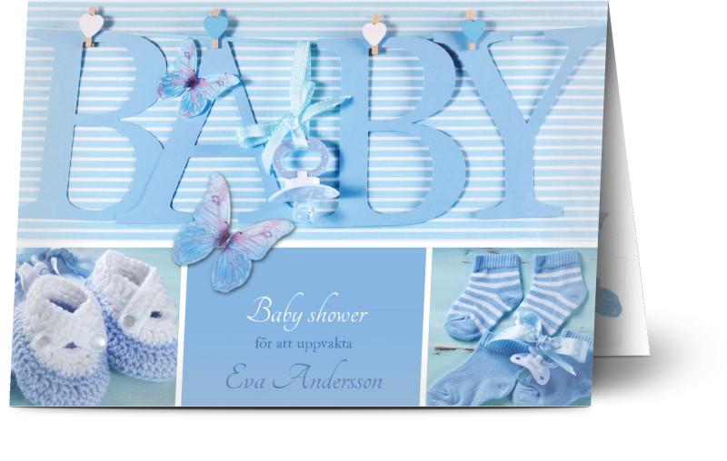 Inbjudningskort Babyshower, glansigt papper, standard-kuvert, 1 st, baby shower, sko, pojke, blå, fotografisk, A6, vikt, Optimalprint