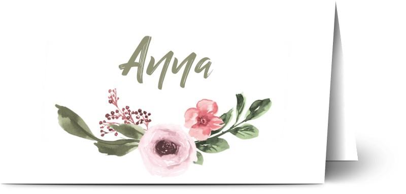 Placeringskort för dop, halvmatt papper, 1 st, blommor, ram, handstil, måla, akvarell, flicka, vit, placeringskort, vikt, Optimalprint